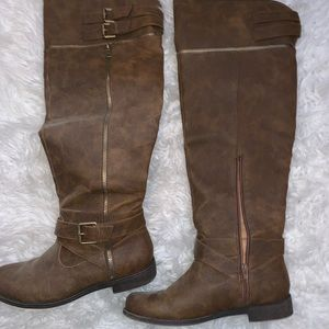 Brown knee length boots